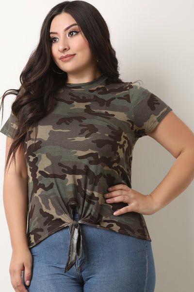 Camouflage Jersey Knit Knotted Hem Top