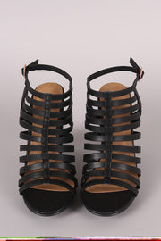 Bamboo Nubuck Open Toe Weaved Band Flat Sandal