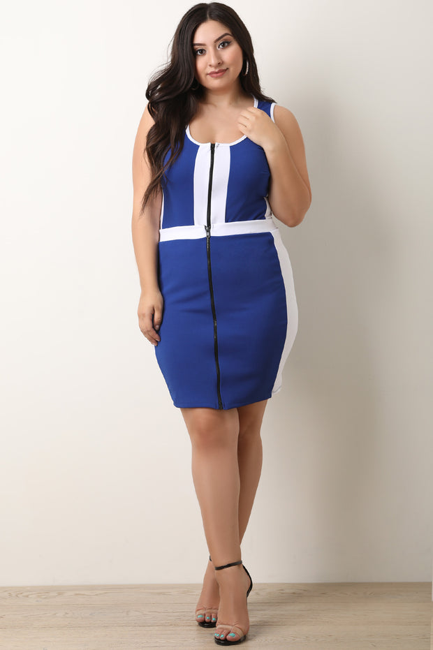 Colorblock Zip-Up Crop Top With Midi Skirt Set