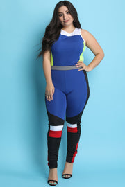 Colorblock Sleeveless Crop Top With High Rise Leggings Set