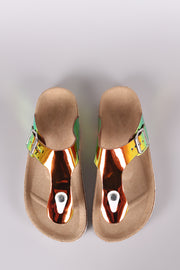 Bamboo Holographic T-Strap Open Toe Cork Footbed Slide Sandal