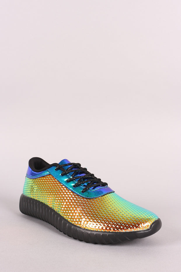 Holographic Dimple Debossed Lace Up Sneaker