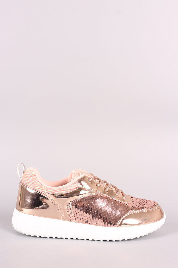 Holographic Sequins Lace Up Sneaker