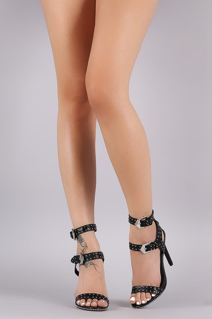Stud Embellished Double Buckled Strap Stiletto Heel