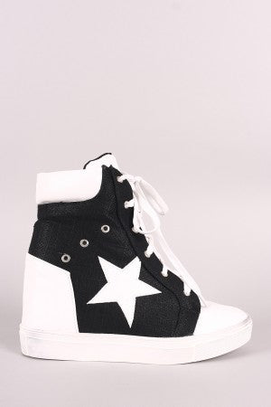 Star Accent Lace-Up High Top Wedge Sneaker