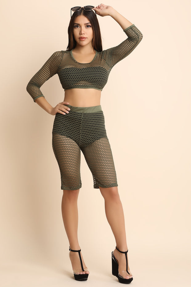 Fishnet Crop Top With Bermuda Shorts Set