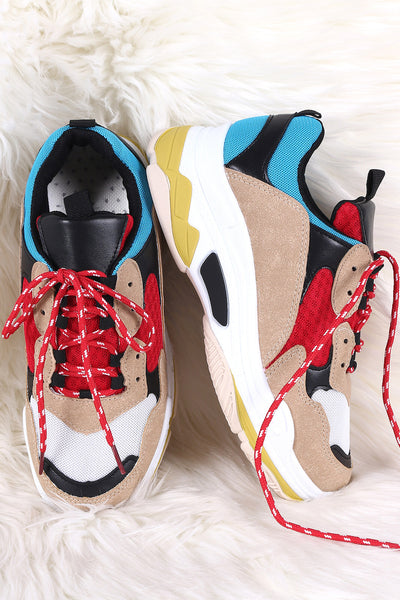 Colorblock Lace Up Flatform Sneaker
