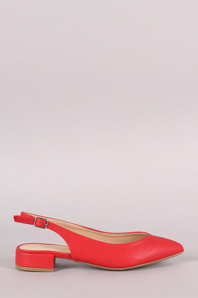 Wild Diva Lounge Pointy Toe Slingback Ankle Strap Flat