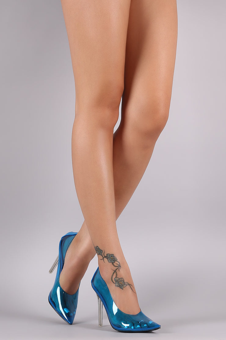Neon PVC Pointy Toe Clear Heel Pump