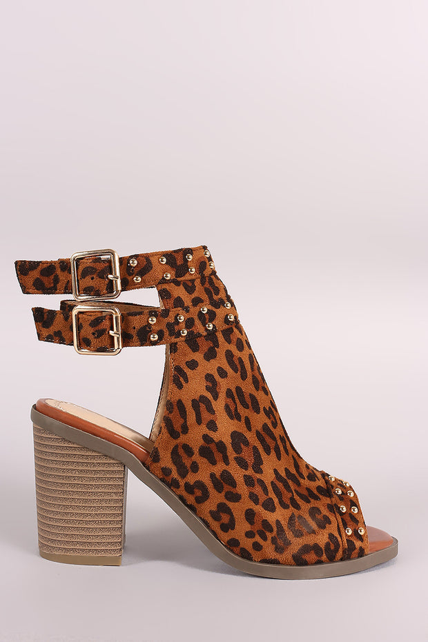Leopard Studded Open Toe Chunky Heeled Mules