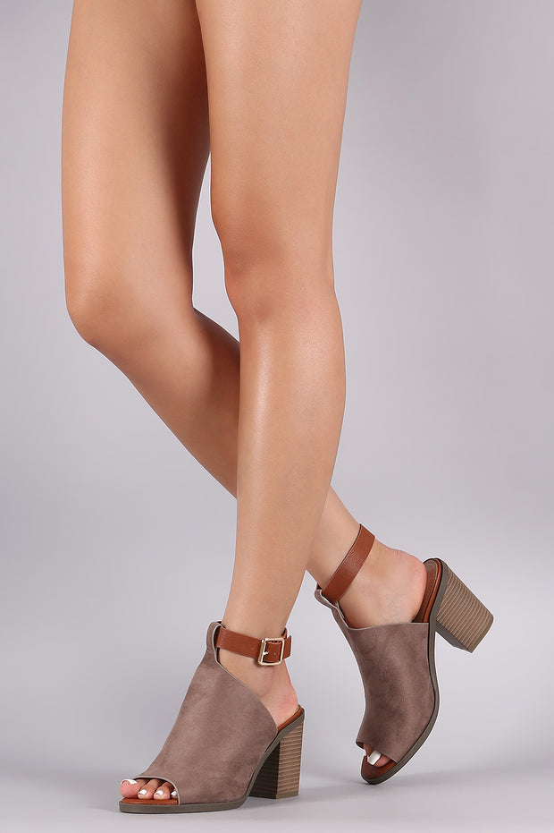 Ankle Strap Mule Peep Toe Booties