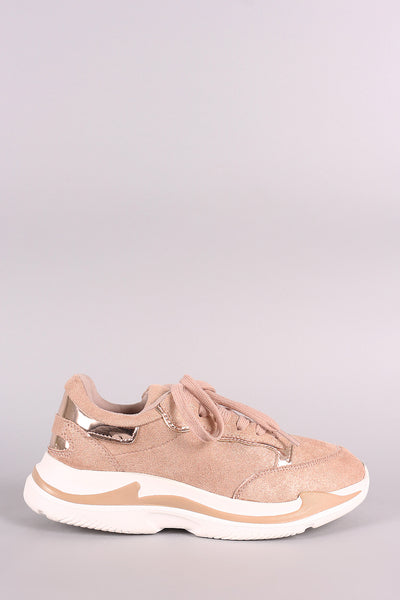 Qupid Shimmery Suede Round Toe Lace Up Sneaker