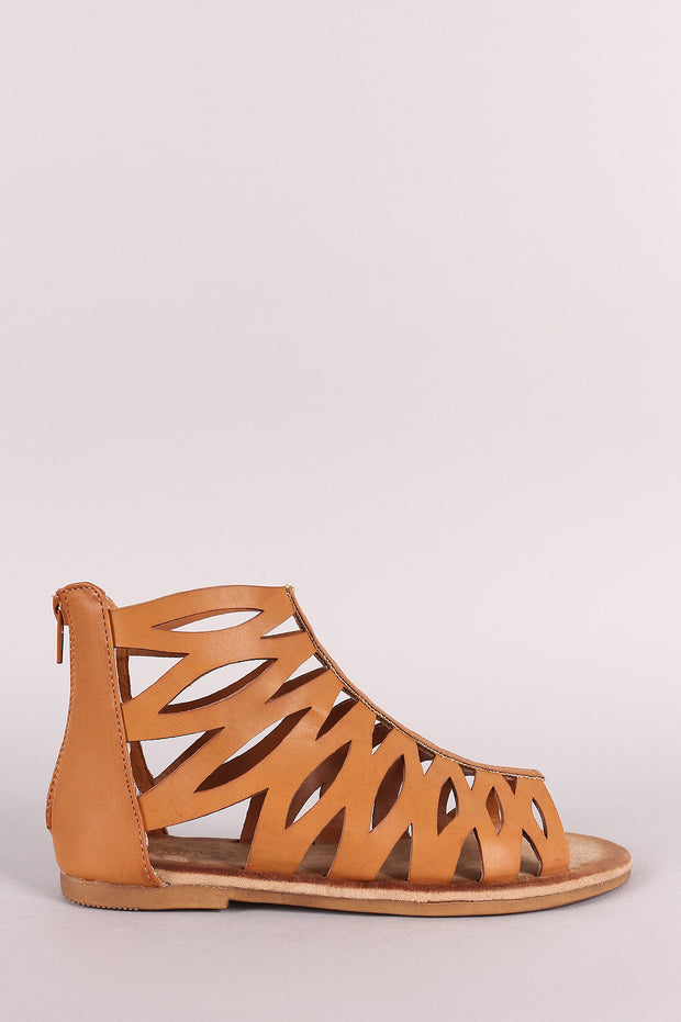 Bamboo Cutout Vegan Leather Gladiator Flat Sandal