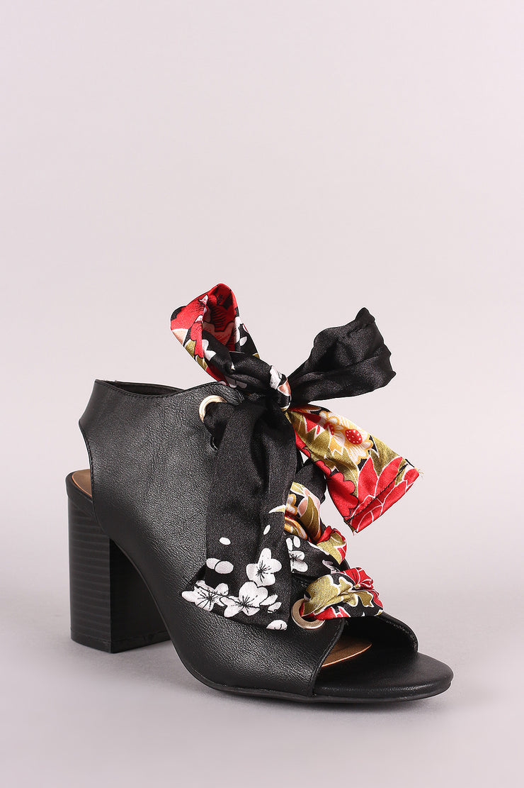 Bamboo Peep Toe Floral Lace-Up Chunky Mule Heel
