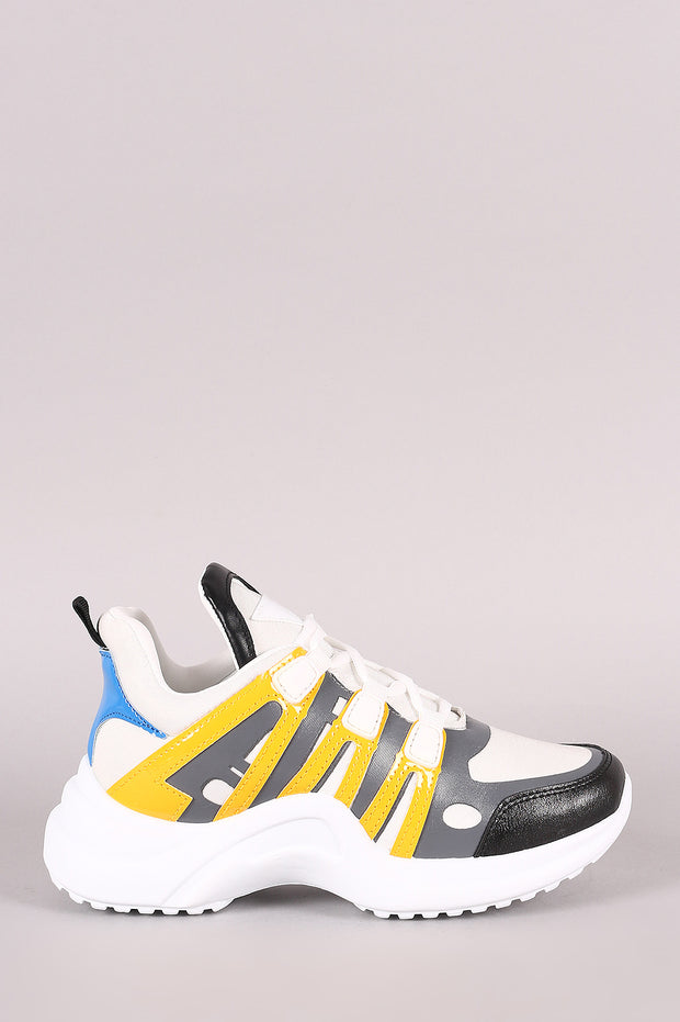 Colorblock Elastane Trim Lace-Up Sneaker