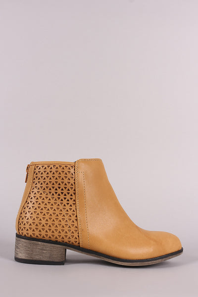 Bamboo Back Cutout Vegan Leather Ankle Boots