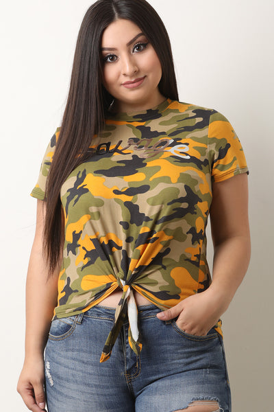Camouflage Savage Front Tie Top