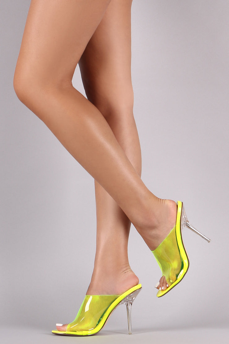 Clear Band Open Toe Stiletto Mule Heel