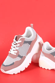 Qupid Colorblock Knit Lace-Up Lug Sole Platform Sneaker