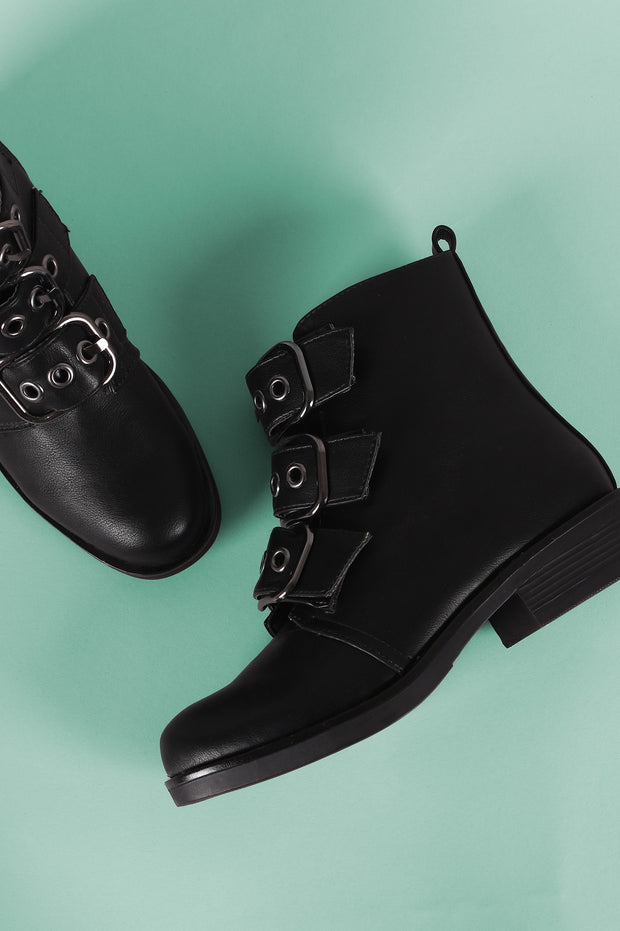 Bamboo Buckled Strap Moto Ankle Boots