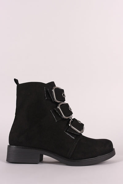 Bamboo Suede Buckled Strap Moto Ankle Boots