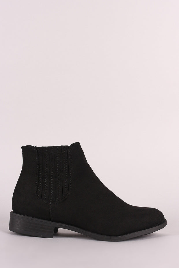Bamboo Suede Side Elastic Gore Chelsea Booties