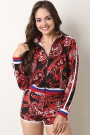 Paisley Striped Trim Jacket with Shorts Set