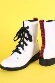 Bamboo Love Detail Lace-Up Combat Patent Ankle Boots
