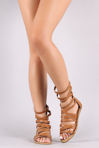 Bamboo Strappy Gladiator Flat Sandal
