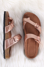 Bamboo Leather Buckled Thong Cork Footbed Slide Sandal