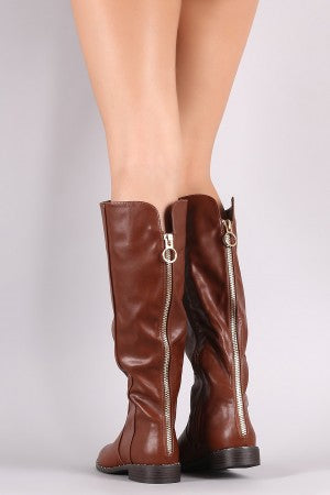 Bamboo Back Zipper Accent Riding Knee High Boots