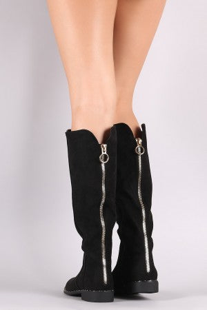 Bamboo Suede Back Zipper Accent Riding Knee High Boots