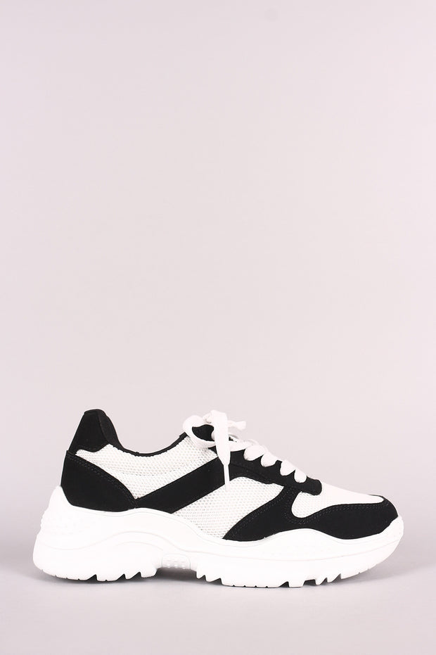 Qupid Nubuck Colorblock Knit Lace-Up Lug Sole Sneaker