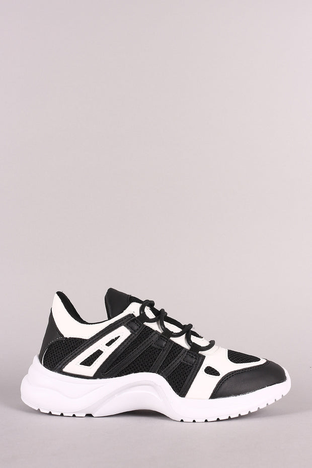 Qupid Leather Colorblock Mesh Trim Lace-Up Sneaker
