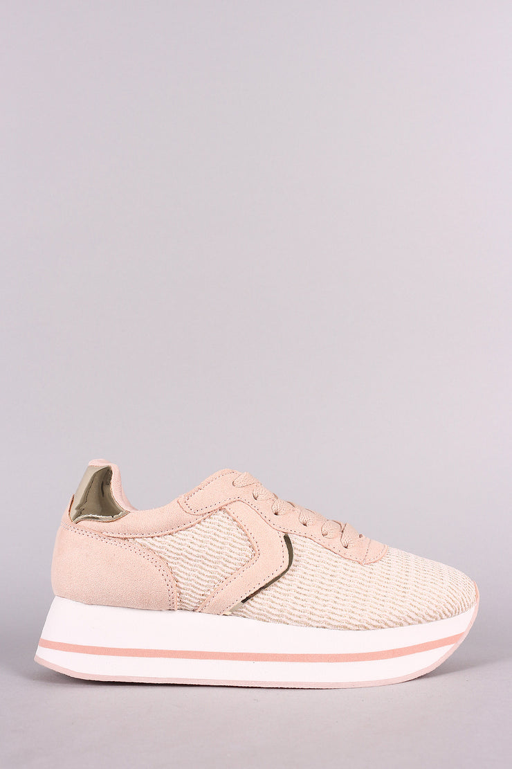 Qupid Flyknit Lace-Up Flatform Sneaker