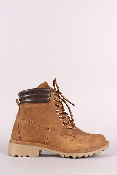 Padded Collar Nubuck Lace-Up Lug Sole Work Boot