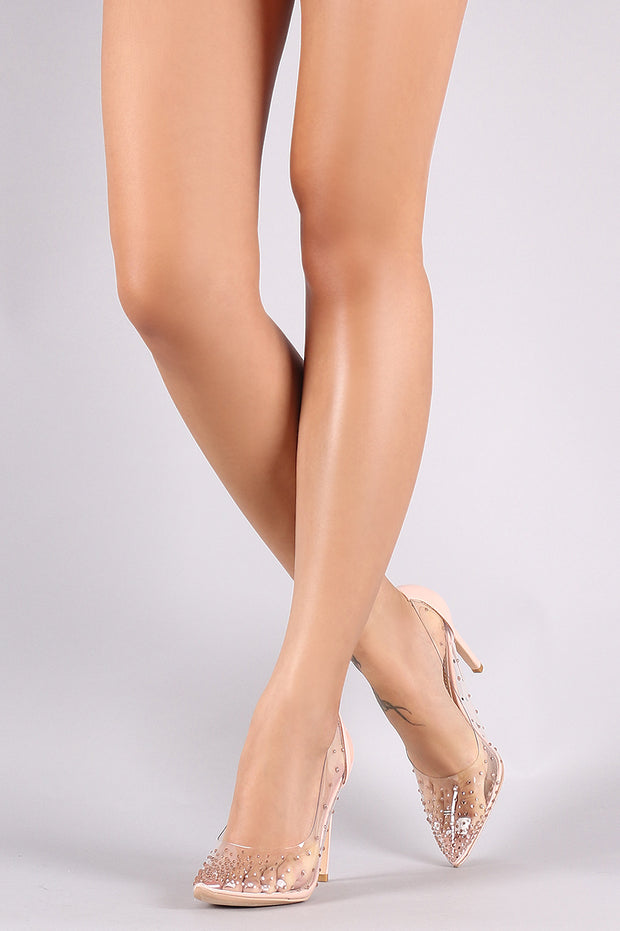Ombre Rhinestone Accent Patent Stiletto Clear Pump