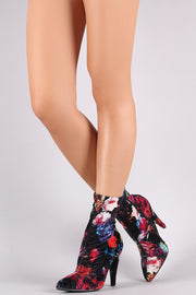 Anne Michelle Floral Velvet Pointy Toe Thick Heeled Booties