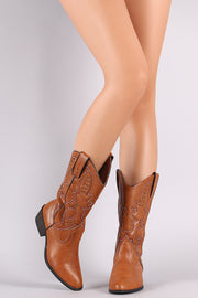 Bamboo Western Stitch Almond Toe Studded Mid Calf Boots