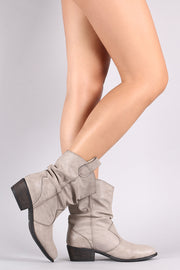 Bamboo Western Slouchy Almond Toe Boots