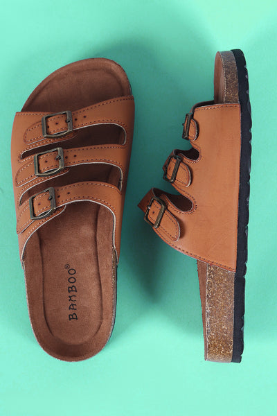 Bamboo Triple Buckled Cork Footbed Slide Sandal