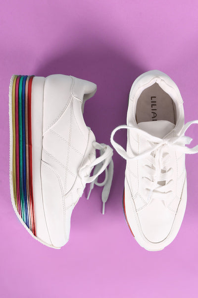 Liliana Striped Lace Up Flatform Sneaker