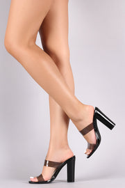 Liliana Translucent Double Band Chunky Mule Heel
