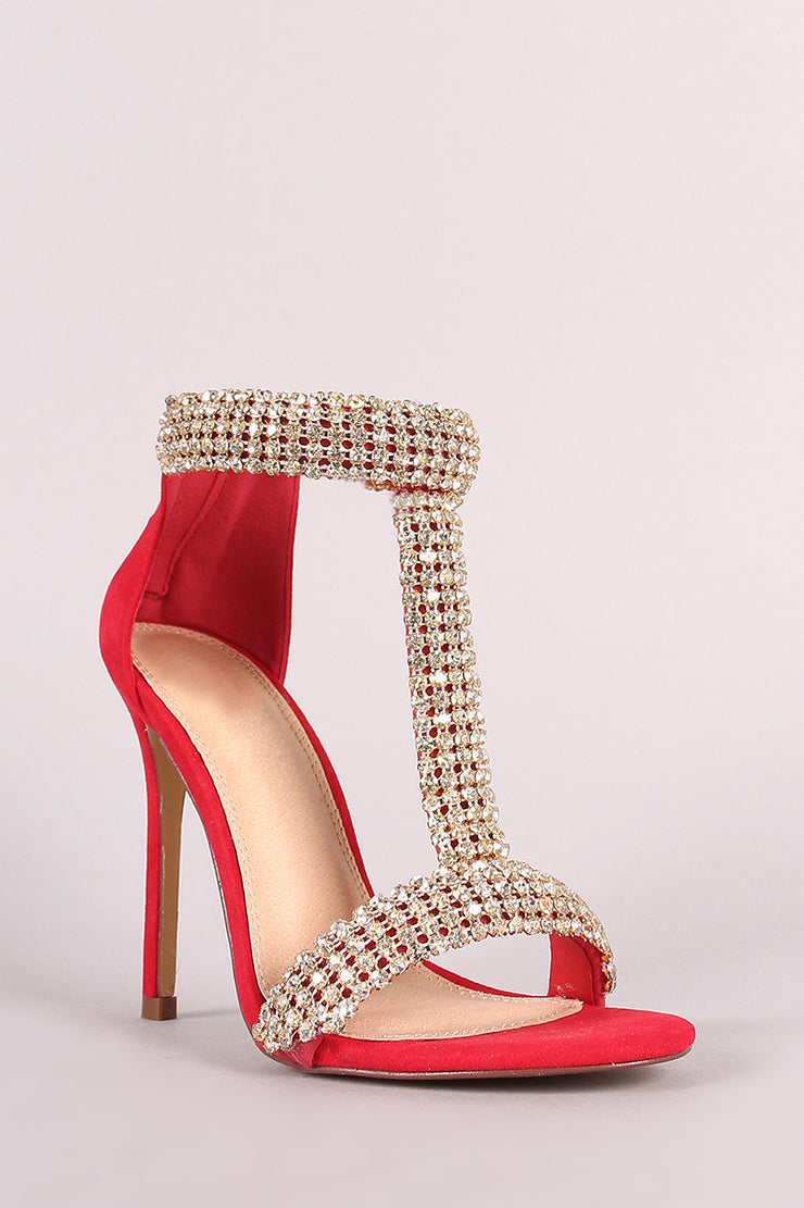 Faux Diamond Chain Acccent T-Strap Stiletto Heel