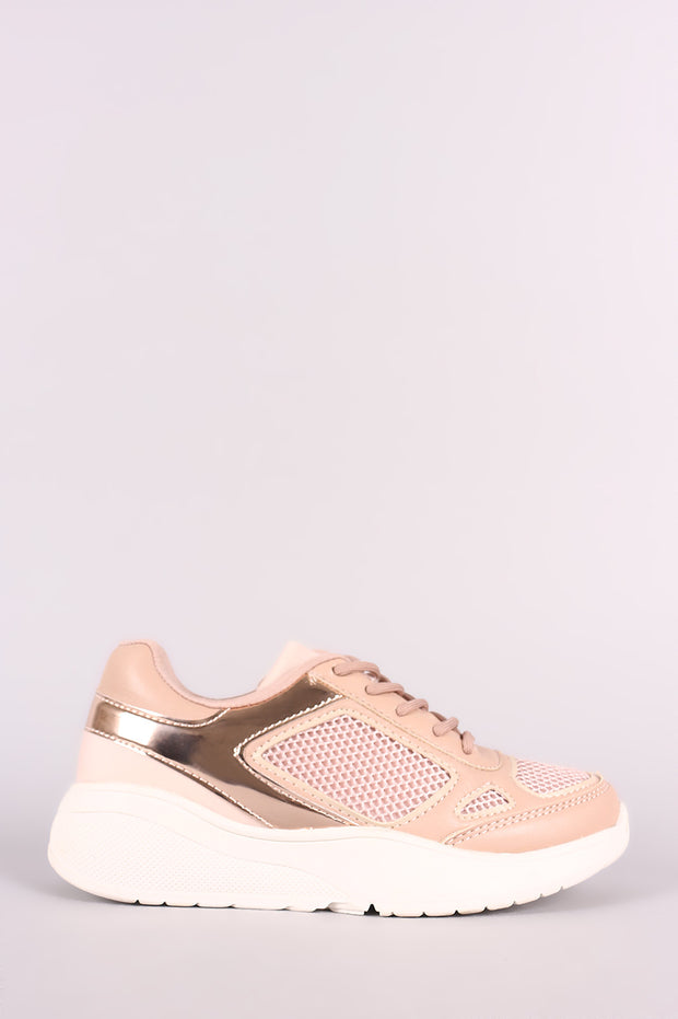 Qupid Mesh Trim Round Toe Lace-Up Sneaker