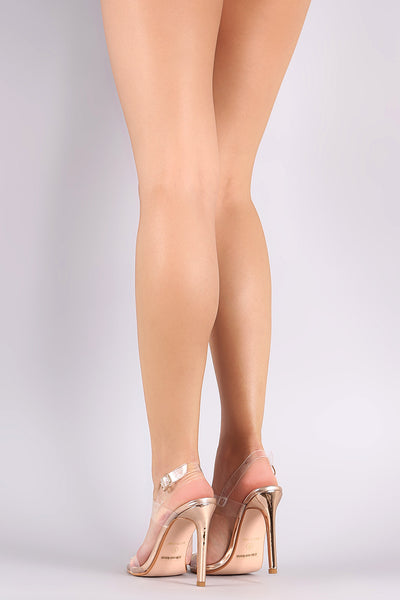 Double PVC Band Open Toe Slingback Stiletto Heel