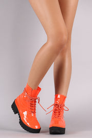 PVC Lug Sole Lace-Up Platform Boots
