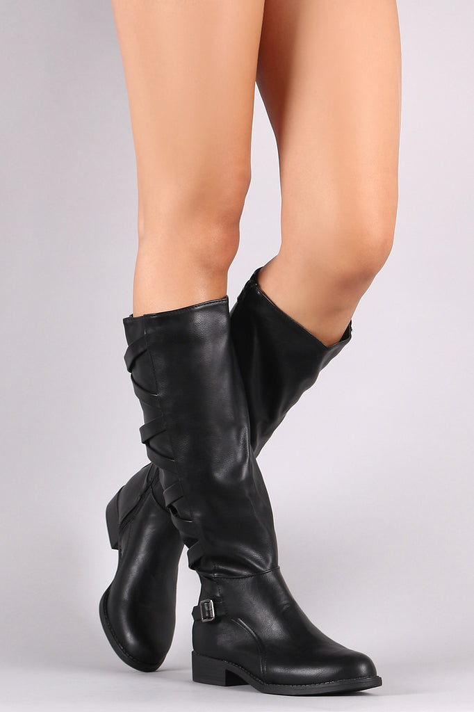 Bamboo Lattice Strappy back Knee High Riding Boot