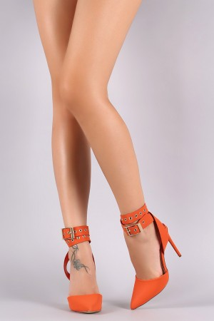 Liliana Nubuck Pointy Toe Grommet Ankle Wrap Stiletto Pump