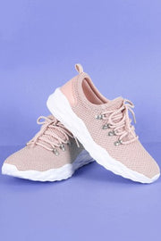 Qupid Knit D-Ring Lace Up Pyramid Embossed Sneaker